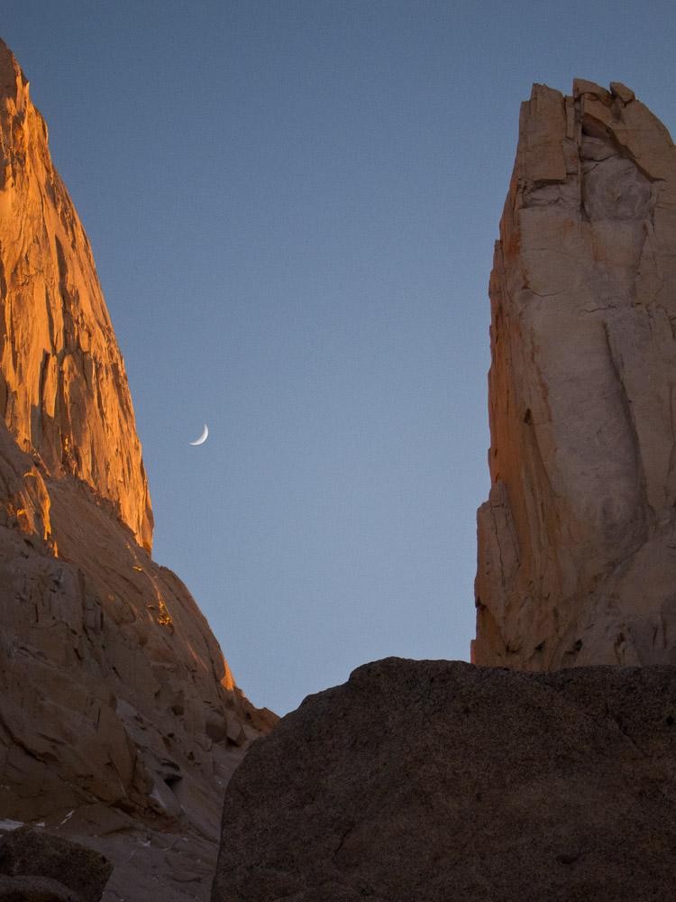 moon rise between near the base of Aguja Innominata